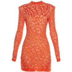 Balmain Coral-effect knit dress (8.195 BRL) ❤ liked on Polyvore featuring dresses, red cocktail dress, red dress, coral dress, sexy red cocktail dress and sexy dresses