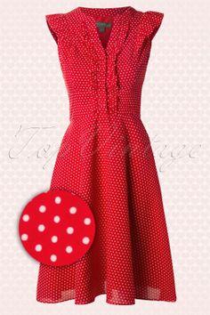 Fever - 50s Kansas Polkadot Shirt Dress in Red