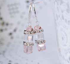 Silver Peach Earrings Champagne Earrings by NewJewelleryStory