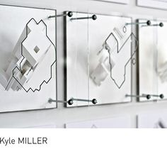 Clay model render printed with perspective outline on plexiglass screen - Perspectiva con silueta superpuesta en metacrilato transparente // Fifteen Buildings (Possible Mediums), ann arbor MICHIGAN