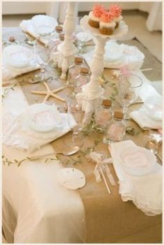 Burlap table runner and white table cloth