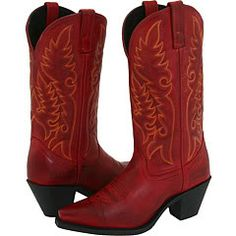 Everyone needs a pair of red cowboy boots!!!  These are a dream to wear.  Go 1/2 size up.
