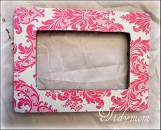 DIY picture frame with scrapbook paper. Did this in high school once, forgot how to do it. Glad I found this!
