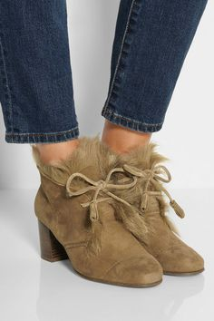 Pedro Garcia | Xadani shearling-lined suede ankle boots | NET-A-PORTER.COM