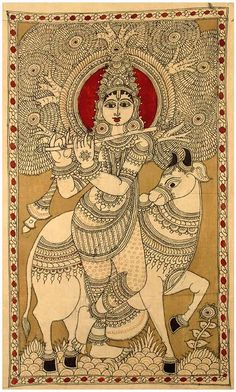 Kalamkari painting beautiful indian folk painting artistic creation sweet krishna and cow