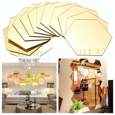 12x 3D Mirror Hexagon Vinyl Removable Wall Sticker Decal Home Decor Art DIY $4.59