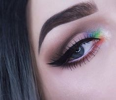 """Rainbow inner corner today I was feeling inspired by the @bitter.lace.beauty rainbow highlight that I'm dying to get my hands on! --------------------------------- Makeup details: Brows  @anastasiabeverlyhills dipbrow in """"ash brown"""" and @anastasiabeverlyhills clear brow gel Eyes  @ardell_lashes #162 soft touch lashes, @colourpopcosmetics """"cry baby"""" creme gel liner in the water line, @toofaced """"natural eyes"""" palette for the neutral colors, @colourpopcosmetics """"I this"""" on the inner c..."""