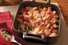 Cooked ham, crunchy croutons and a creamy, cheesy sauce make this casserole a weeknight winner—with a prep time of just 15 minutes.
