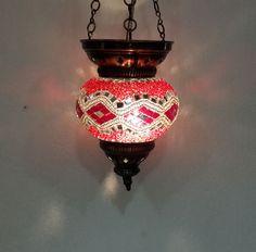 No reserve mosaic hanging lamp glass light candle holder Türkische lamp 33 #Handmade #Moroccan