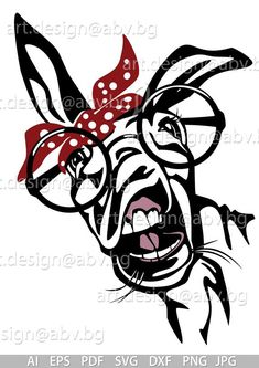 Vector DONKEY with bandana and sunglasses 5 colors head AI Media Mix, Easy Drawings, Digital Image, Cricut Design, Illustrations, Framed Art, Coloring Pages, Digital Prints, Stencils