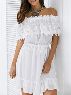 Off The Shoulder Drawstring Lace Spliced Women's Dress Pretty Dresses, Sexy Dresses, Casual Dresses, Fashion Dresses, Sequin Mini Dress, Lace Dress, White Dress, Latest Dress For Women, Different Dresses
