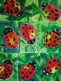 Spring Art, Summer Art, Drawing Projects, Art Projects, Primary School Art, Ladybug Art, Insect Art, Art Lessons Elementary, Baby Art