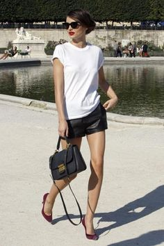 love the wine shoes and leather shorts and the bag and... ok the entire outfit is a go. Miranda Kerr
