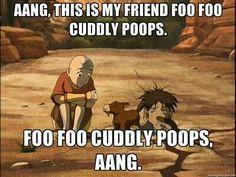 Aang, this is my friend Foo Foo Cuddly Poops, Foo Foo Cuddly Poops, Aang, funny, text, Sokka, Aang, sabertooth moose lion; Avatar: the Last Airbender