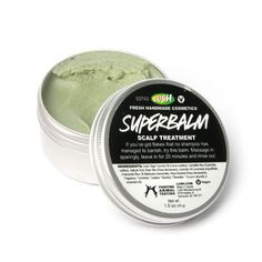 Superbalm SUPER SCALP TREATMENT from Lush. Itchy, dandruff-ridden scalps are a literal pain. When the scale builds up on the scalp and can't be removed by shampoo, this is the scalp treatment you need. Lush Cosmetics, Handmade Cosmetics, Scalp Moisturizer, Dandruff Remedy, Itchy Scalp Remedy, Psoriasis Remedies, Ghd Hair, Lush Products, Hair Treatments
