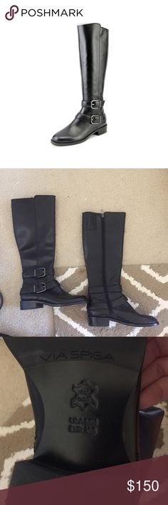 """✨Marked down! Via Spiga Round Toe Leather Boots Real leather never worn and comes with original box! MSRP $450. Comfy and easy to take on and off with inside zipper.                       1"""" heel  16"""" boot shaft; 14"""" calf circumference. Interior side-zip closure. Leather upper and lining/ rubber sole. By Via Spiga; imported. Via Spiga Shoes Over the Knee Boots"""