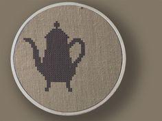 Tea Anyone. Teapot Cross Stitch PDF Pattern. $2.50, via Etsy.
