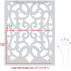 Stenciled Wall with Exotic Trellis Patterns and Colorful Paint - Mansion House Grille Trellis Wall Stencils - Royal Design Studio