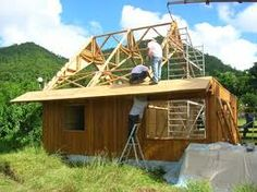 A bamboo house under construction in Martinique in the French West Indies.