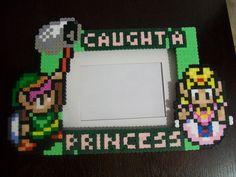 """Zelda and Link """"Caught a Princess"""" Perler Frame. via Etsy."""
