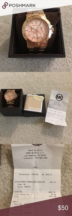 Michael Kors women's rose gold watch Used, has light scratches. Authentic- purchased from the Michael Kors store in Beverly Hills with receipt. Has extra links- you can take it to any MK store/ department store or a watch repair and have them adjust it for you. However you will have to replace the batteries yourself. I can provide more detailed pictures upon request. Michael Kors Accessories Watches