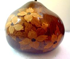 Natural Gourd Carved with Dogwood and Leaves  Signed by Grannycatz, $38.00