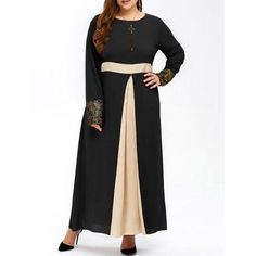 Muslim Color Block Maxi Dress