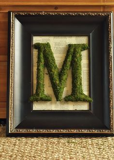 Moss cloth and gold letter.... Great project to create personality in a room!!!