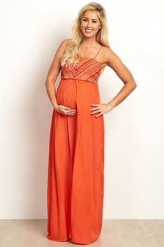Orange-Tribal-Embroidered-Maxi-Dress