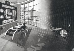 """Fritz Kahn: The doctor of the future, 1939, © Fritz Kahn. """"The doctor of the future using radio and television to give a consultation to his patient aboard the ship 'India' in the South Seas."""""""