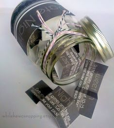 Use these files to create your own Date Night Jar. The Date Night Jar makes a fun anniversary, birthday, wedding or just because gift!    This