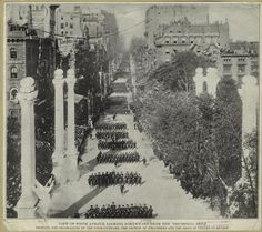 A Gilded Age view of Fifth Avenue, looking northward from The Triumphal Arch, c.1899. ~~ (NYPL) ~~ {cwl}