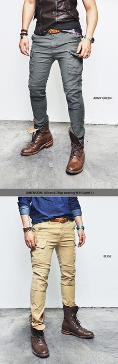 Bottoms :: Pants :: Must Washed Rugged Slim Urban Cargo-Pants 87 - Mens Fashion Clothing For An Attractive Guy Look