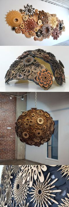 Spiraling Coral Reefs Assembled from Precisely Cut Wood by Joshua Abarbanel