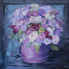 Bouquet de fleurs Acrylique sur toile 80*80 Manuela Rizzi