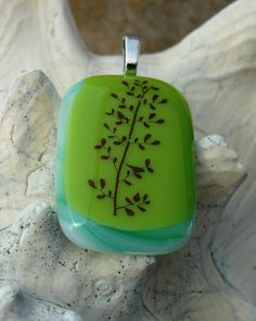 Fused Glass Pendant  Nature by DragonflyAdornments on Etsy, $23.00