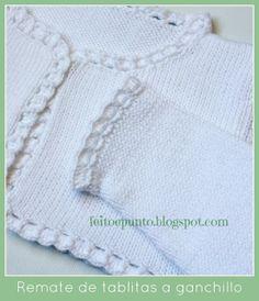 remate de ganchillo para punto Cute Crochet, Crochet Baby, Knit Crochet, Knit Baby Sweaters, Girls Sweaters, Knitting Stiches, Baby Knitting Patterns, Knitting For Kids, Crochet For Kids