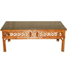 bamboo low table with black lacquer top - Rattan Coffee Table
