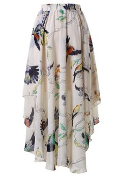 Birds Print Waterfall Skirt