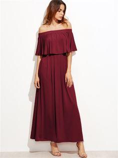 Bordo Madonna Yaka Fırfırlı Elbise