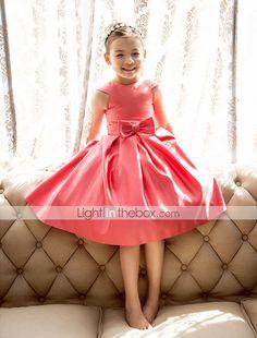 a-line Prinzessin Juwel Tee-Länge Satin Blumenmädchen Kleid (733991) 2015 – €51.29