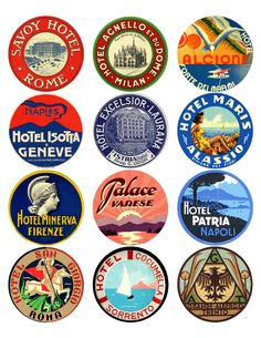 This Portable Document Format (PDF) collage features a mix of 12 national travel labels from Italy. Luggage Stickers, Luggage Labels, Vintage Luggage, Vintage Travel, Tumblr Stickers, Identity, Aesthetic Stickers, Travel Themes, Lettering