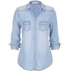 maurices Chambray Button Down Shirt In Medium Wash ($39) ❤ liked on Polyvore featuring tops, shirts, blouses, medium denim, blue button shirt, blue shirt, button up tops, plus size tops and blue chambray shirt