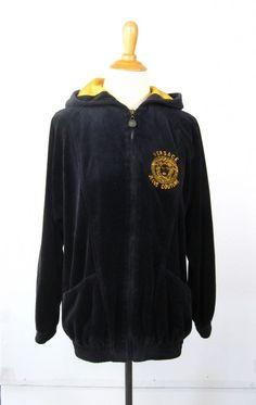 Vintage Versace Jeans Couture Black Velour Hoodie Sweatshirt S Medusa Logo   Versace  Hoodie Versace 64336460682
