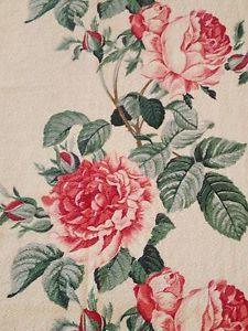 Vintage Barkcloth Watercolor Roses 81 034 x 46 034 LG Cutter Piece | Vintageblessings