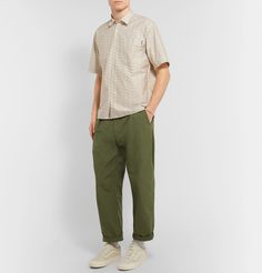 Carhartt WIP's shirt is made from heavy-duty cotton-twill that nods to classic workwear. Anchor the all-over logo print with a pair of plain trousers or shorts. Shown here with [Engineered Garments trousers [Vans sneakers Twill Shirt, S Shirt, Engineered Garments, Carhartt Wip, Vans Sneakers, Printed Cotton, Fashion News, Work Wear, Casual Shirts