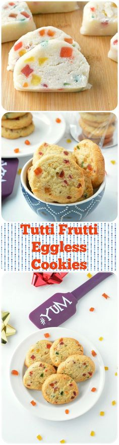 Eggless version of simple and easy homemade tutti frutti cookies prepared with…