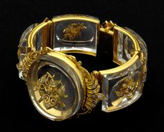 Glass , diamonds and gold bracelet which belonged to the bragance royal family, Portugal Victorian Jewelry, Antique Jewelry, Vintage Jewelry, Antique Bracelets, Royal Jewelry, Jewelry Art, Jewellery, Art Nouveau, Bracelet Box