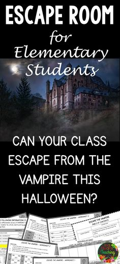 ESCAPE ROOM for the Elementary Classroom. Using teamwork, creative thinking, problem solving and collaborative learning, students 'escape' from the vampire in a fun and interactive way! #islaheartsteaching #escaperoom #teamwork #cooperativelearning #halloween