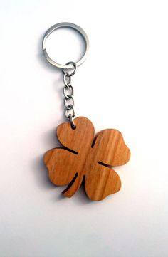 Wooden Four Leaf Keychain Cherry Lucky Keychain by PongiWorks